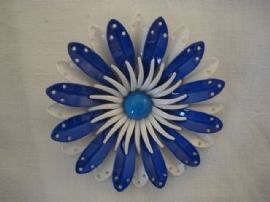 1960's Vintage Flower Brooch in White and Two shades of Blue (SOLD)